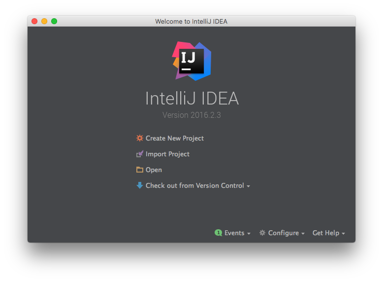 The IntelliJ IDEA Landing Screen