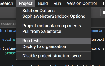 The project menu, showing the option to run tests alongside various push/pull options
